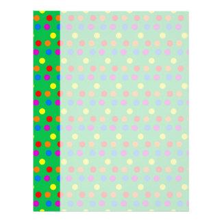 Rainbow Polka Dots on Bright Green Letterhead