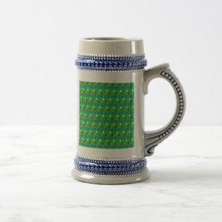 Rainbow Polka Dots on Bright Green 18 Oz Beer Stein