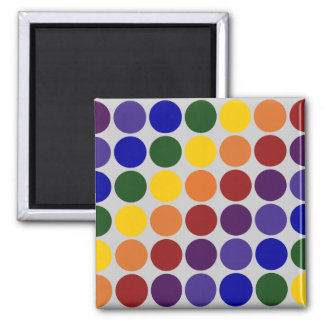 Rainbow Polka Dots on Grey 2 Inch Square Magnet