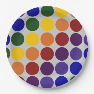 Rainbow Polka Dots on Grey 9 Inch Paper Plate
