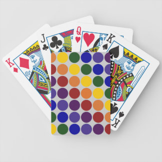 Rainbow Polka Dots on Grey Bicycle Playing Cards