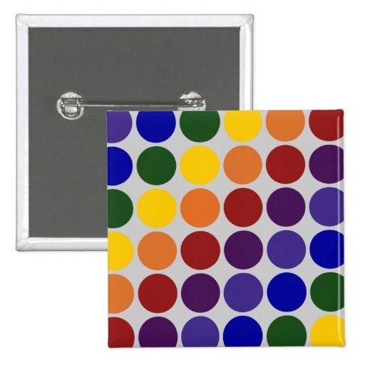 Rainbow Polka Dots on Grey Pinback Buttons
