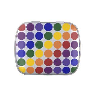 Rainbow Polka Dots on Grey Candy Tins