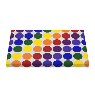 Rainbow Polka Dots on Grey Canvas Print