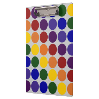 Rainbow Polka Dots on Grey Clipboard