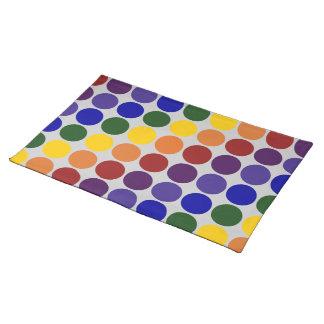 Rainbow Polka Dots on Grey Cloth Placemat