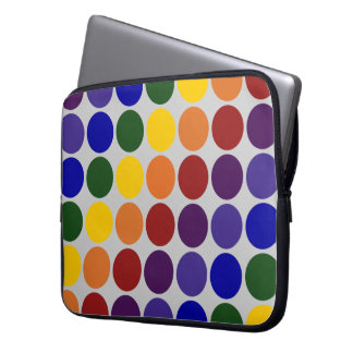 Rainbow Polka Dots on Grey Computer Sleeve