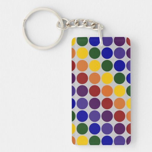 Rainbow Polka Dots On Grey Double-Sided Rectangular Acrylic Keychain