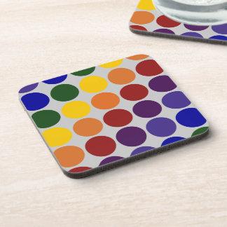 Rainbow Polka Dots on Grey Drink Coaster