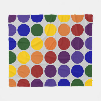 Rainbow Polka Dots on Grey Fleece Blanket