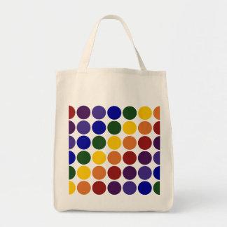 Rainbow Polka Dots on Grey Grocery Tote Bag