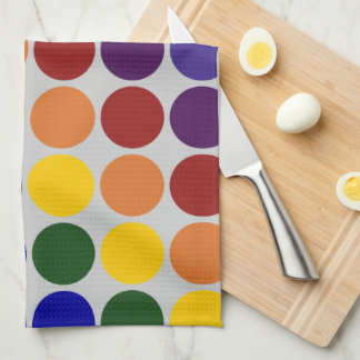 Rainbow Polka Dots on Grey Hand Towel