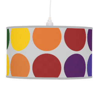 Rainbow Polka Dots on Grey Hanging Lamp