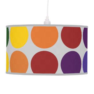 Rainbow Polka Dots on Grey Hanging Lamp