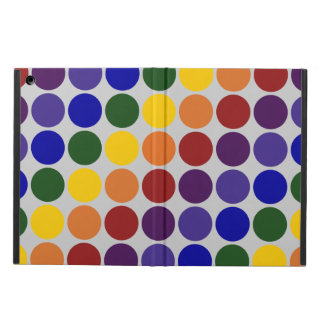 Rainbow Polka Dots on Grey iPad Air Cover