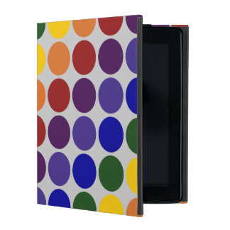 Rainbow Polka Dots On Grey iPad Folio Case