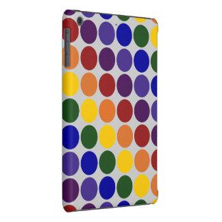 Rainbow Polka Dots on Grey iPad Mini Cases