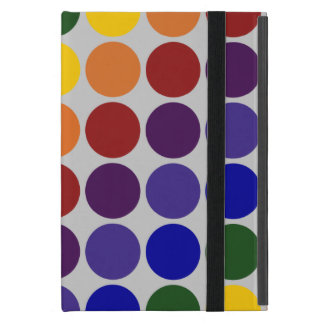Rainbow Polka Dots On Grey iPad Mini Cases