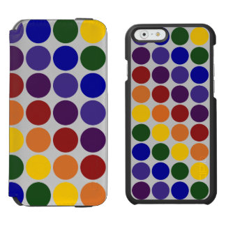 Rainbow Polka Dots On Grey iPhone 6/6s Wallet Case