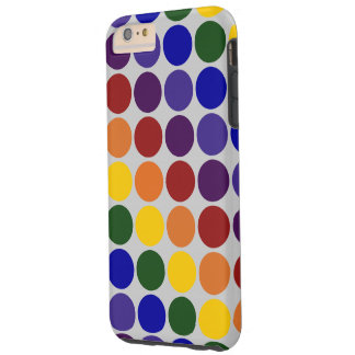 Rainbow Polka Dots on Grey iPhone 6 Plus Case