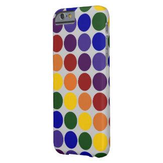 Rainbow Polka Dots On Grey iPhone 6 Slim Case