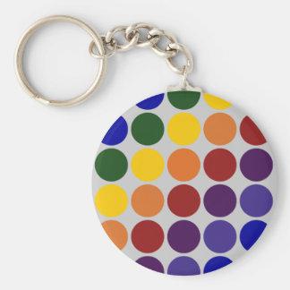 Rainbow Polka Dots on Grey Key Chain