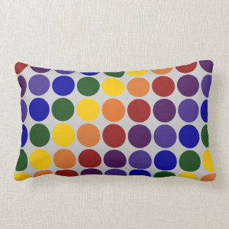 Rainbow Polka Dots on Grey Lumbar Pillow