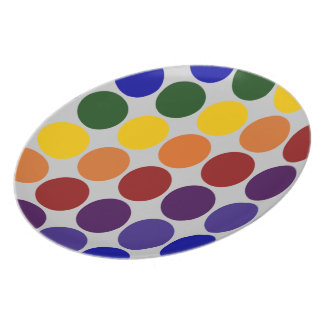 Rainbow Polka Dots on Grey Melamine Plate