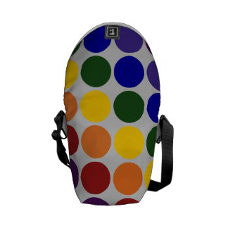 Rainbow Polka Dots on Grey Messenger Bag
