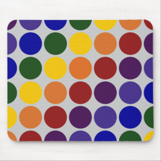 Rainbow Polka Dots on Grey Mouse Pad
