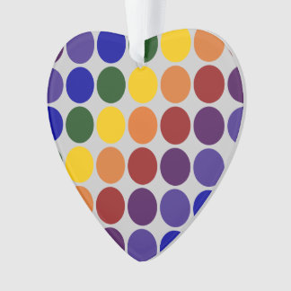 Rainbow Polka Dots on Grey Ornament