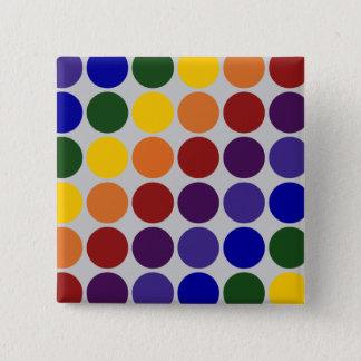 Rainbow Polka Dots on Grey Pinback Button