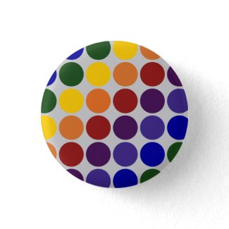 Rainbow Polka Dots on Grey Pinback Buttons