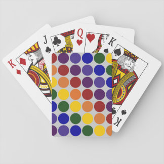 Rainbow Polka Dots on Grey Playing Cards