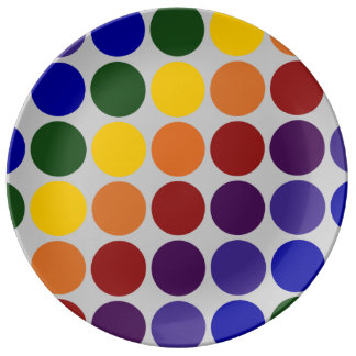 Rainbow Polka Dots on Grey Porcelain Plate