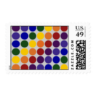 Rainbow Polka Dots on Grey Postage