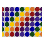 Rainbow Polka Dots on Grey Postcard