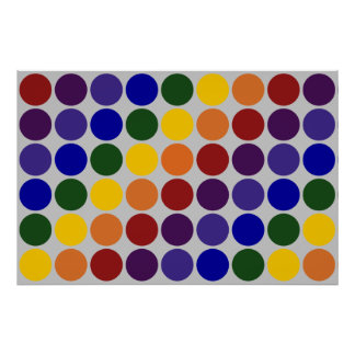 Rainbow Polka Dots on Grey Poster