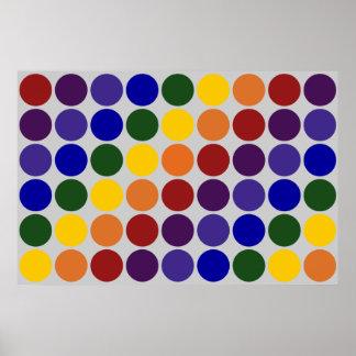 Rainbow Polka Dots on Grey Poster