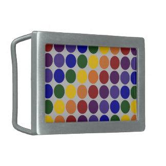 Rainbow Polka Dots on Grey Rectangular Belt Buckle