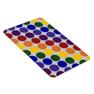 Rainbow Polka Dots on Grey Rectangular Photo Magnet