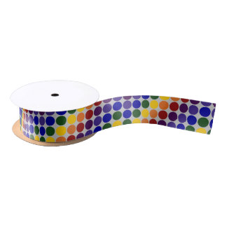 Rainbow Polka Dots on Grey Satin Ribbon