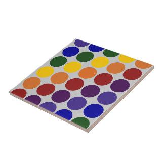 Rainbow Polka Dots on Grey Small Square Tile