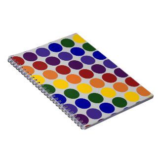 Rainbow Polka Dots on Grey Spiral Note Books