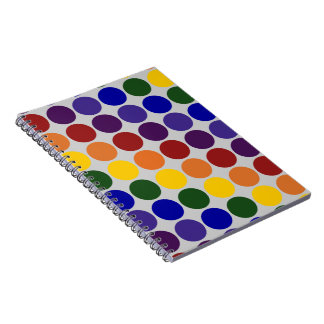 Rainbow Polka Dots on Grey Spiral Notebook