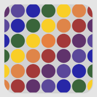 Rainbow Polka Dots on Grey Square Sticker