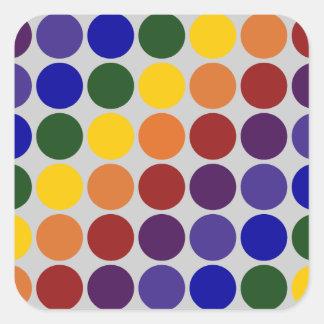 Rainbow Polka Dots on Grey Square Sticker