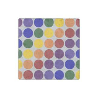 Rainbow Polka Dots On Grey Stone Magnet