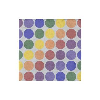 Rainbow Polka Dots On Grey Stone Magnet