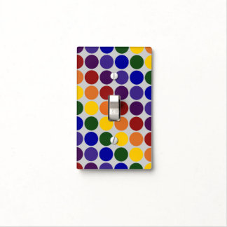 Rainbow Polka Dots on Grey Switch Plate Covers